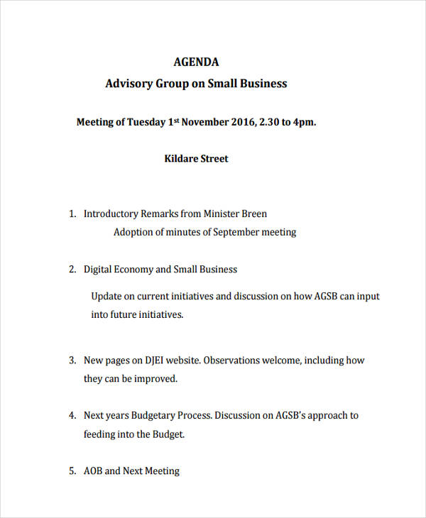Small Business Meeting Agenda  CityEsporaCo