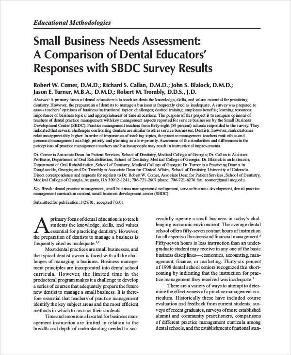 Needs Assessment Example  Needs Assessments Examples Samples