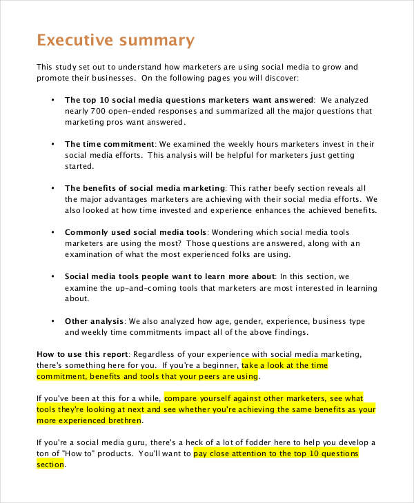 Social Media Marketing  Executive Summary Of A Report Example