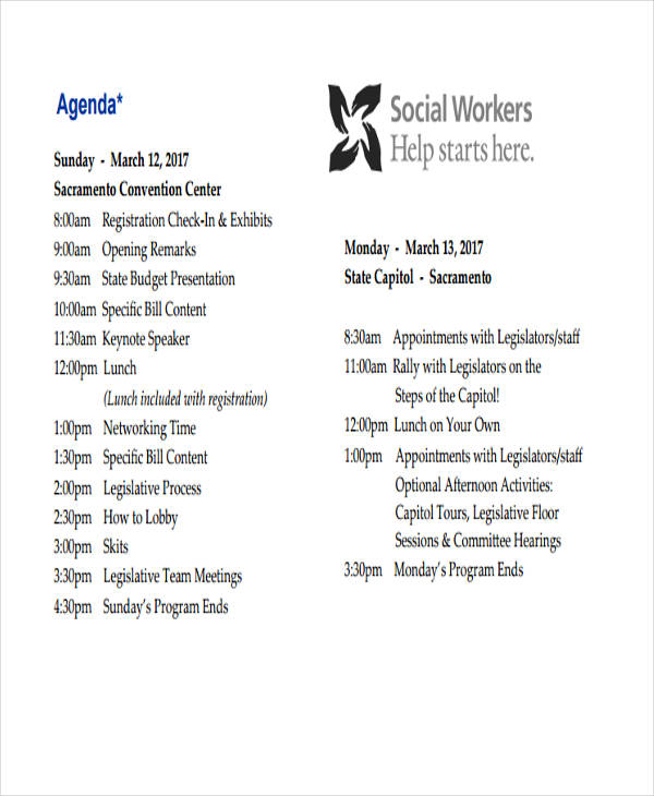 9  work agenda examples  u0026 samples in pdf