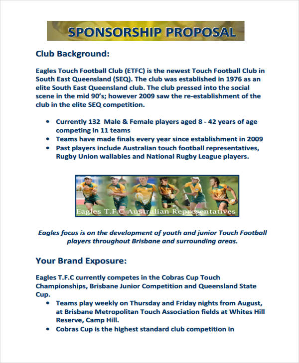 Sportu0027s Sponsorship In PDF  Example Of A Sponsorship Proposal