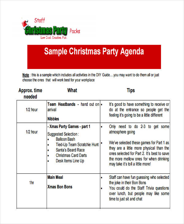 staff party agenda sample