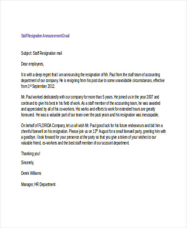 Resignation Email Examples Samples