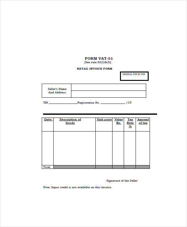standard retail form copy
