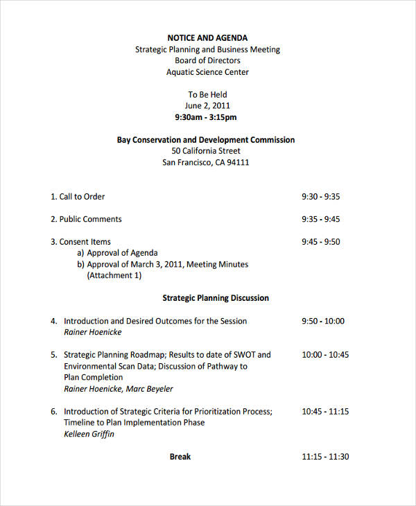 Free 9 Business Meeting Agenda Examples Samples In Pdf Examples