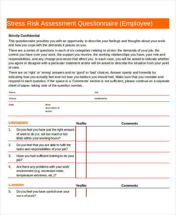stress risk assessment questionnaire