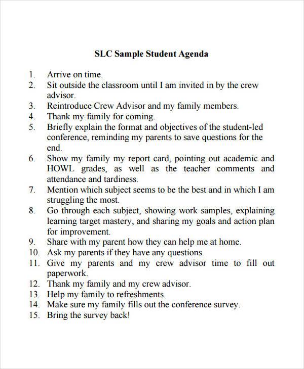 student agenda example2