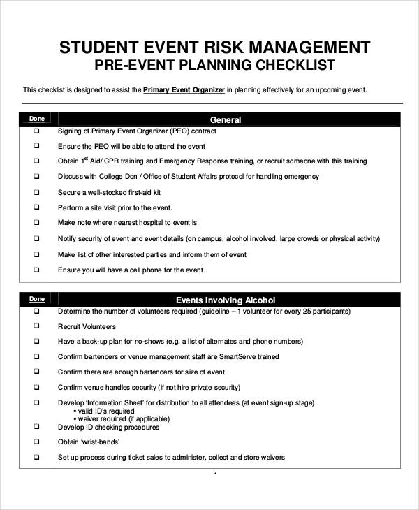 Examples Of Risk Management Plans