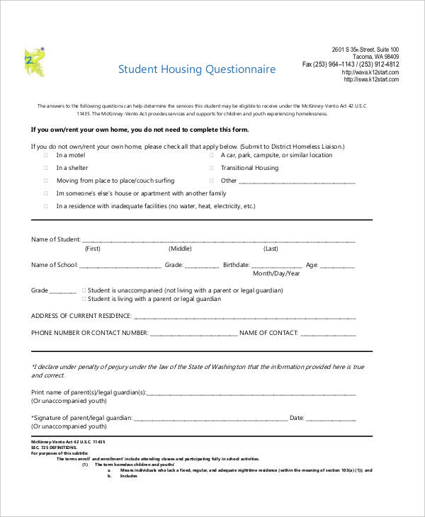 student housing questionnaire in pdf