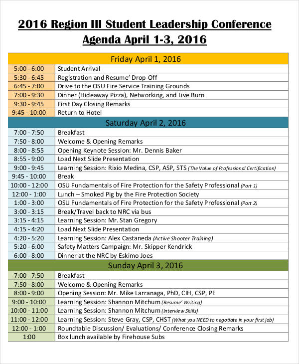 Conference Agenda Examples