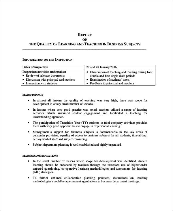 11 Inspection Report Examples Samples – Sample Business Reports for Students