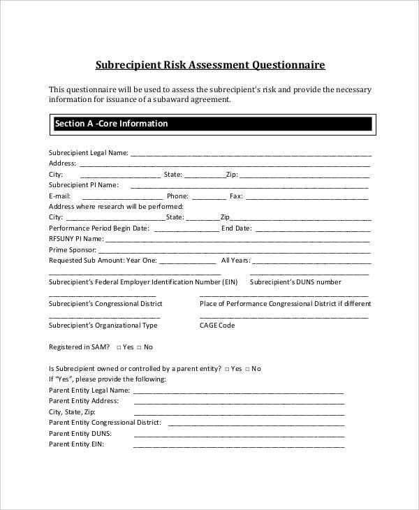 subrecipient risk assessment questionnaire