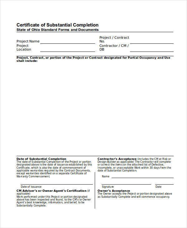 substantial completion certificate