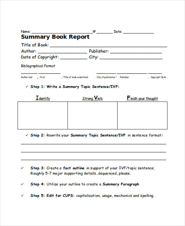 book report summary template