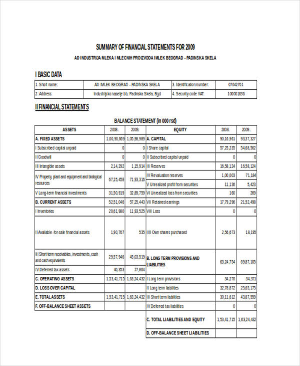 summary financial statement