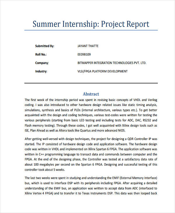 summer internship project report