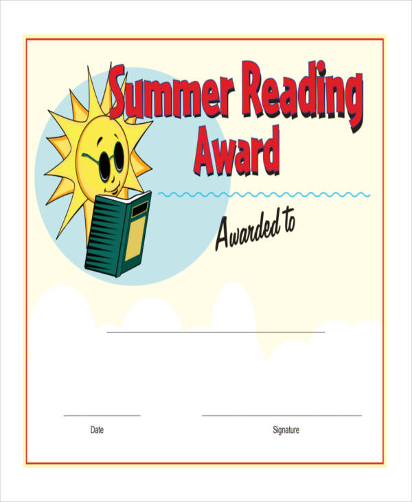 summer reading award certificate