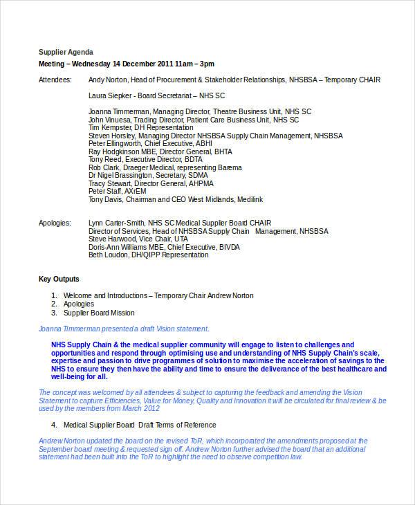 28 Examples Of Agenda In Word Format
