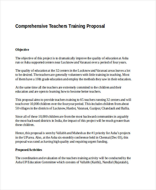teacher training proposal