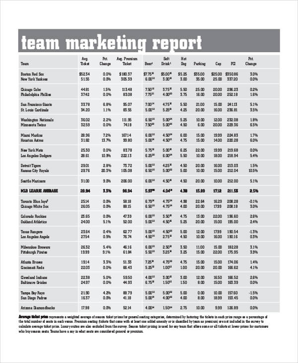 team marketing report sample