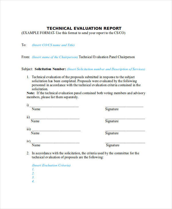 Technical Evaluation Figure Technical Summary Evaluation Matrix