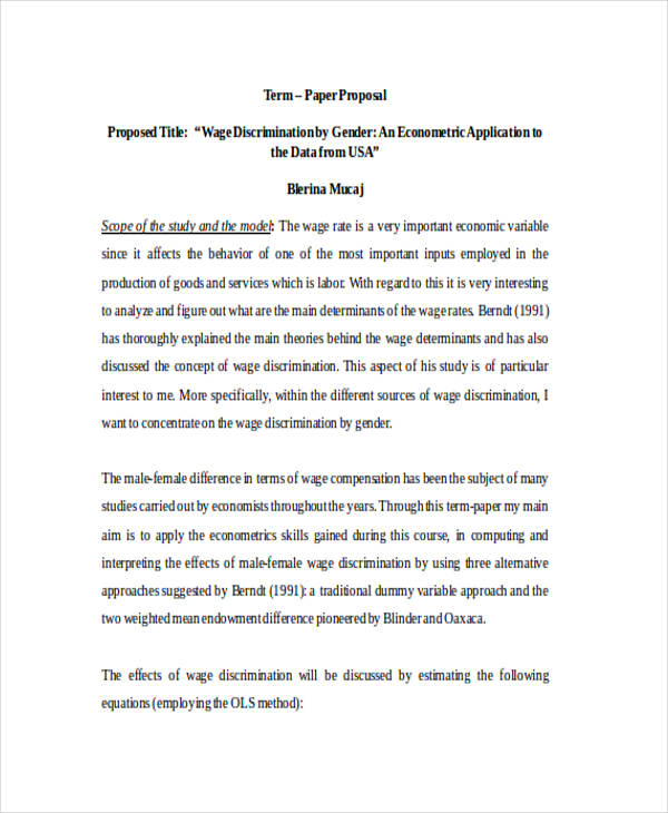 Proposal Templates And Examples  Pdf Word Pages  Examples Term Paper Proposal