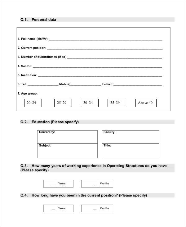 FREE 34+ Assessment Questionnaire Examples in PDF | DOC
