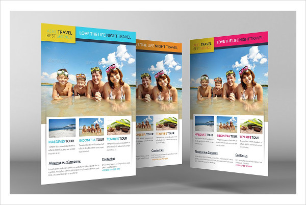 travel agency advertising flyer