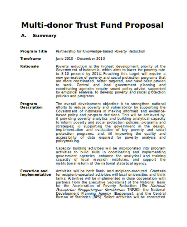 trust funding proposal