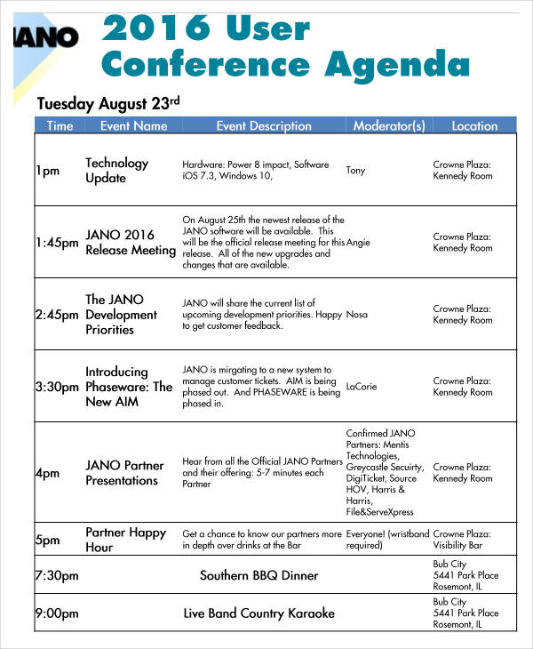 user conference agenda sample