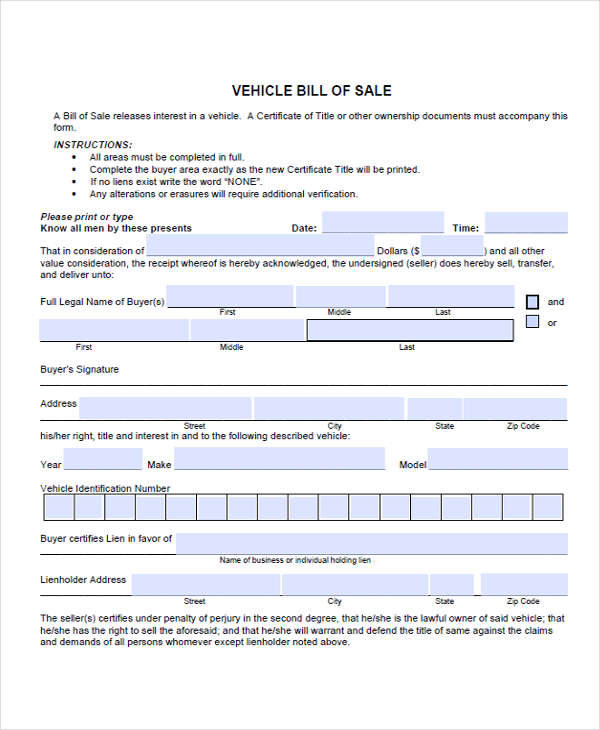 vehicle sales form