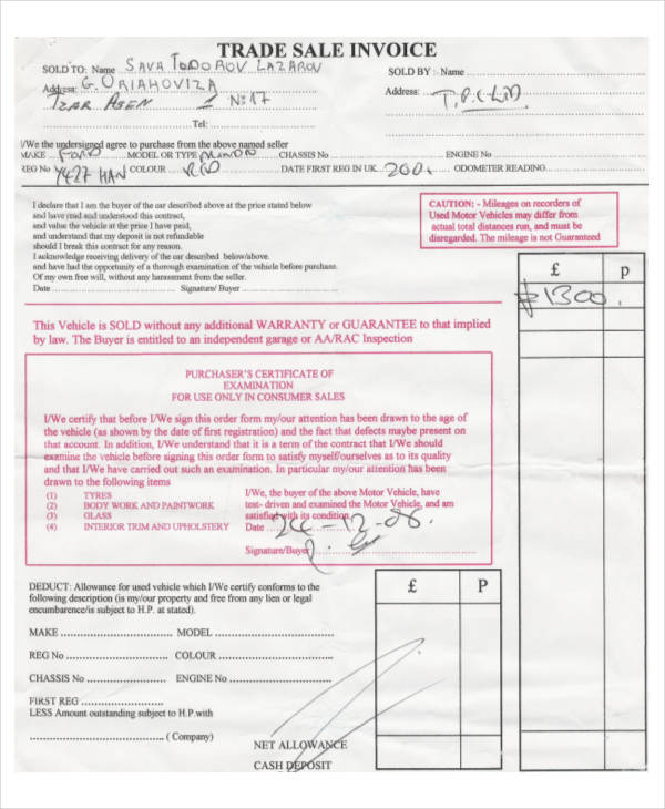 Vehicle Trade Sale Invoice  Invoice Sale