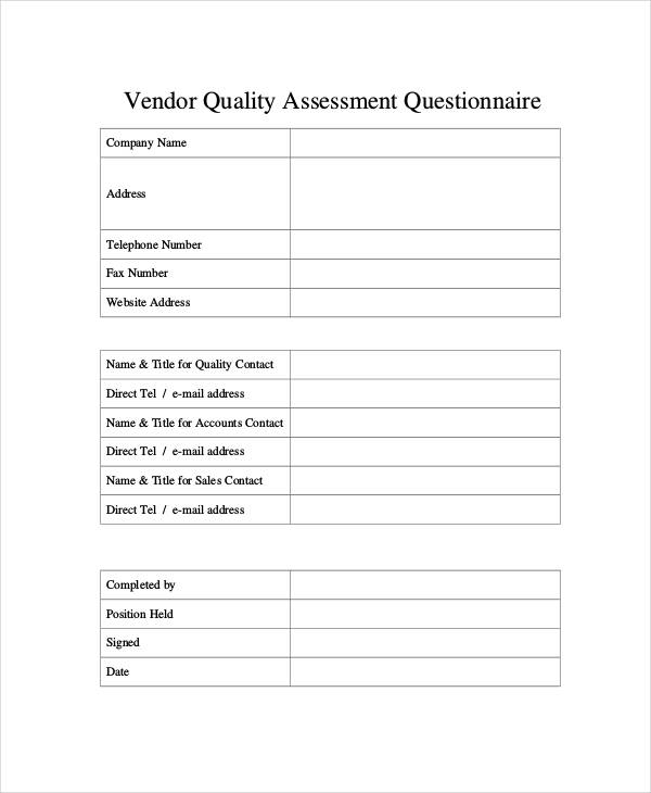 vendor quality assessment questionnaire