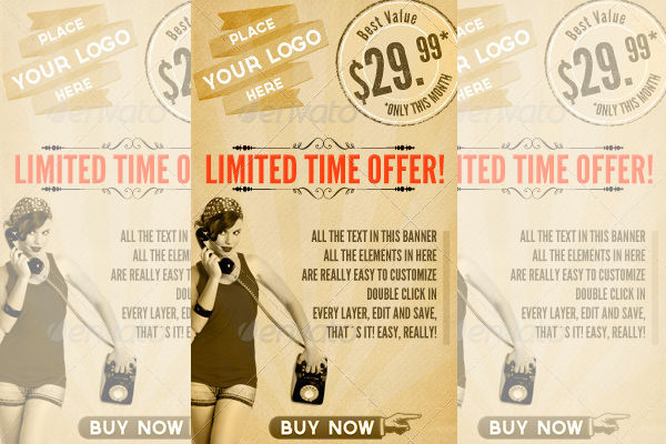 vintage advertising web banner