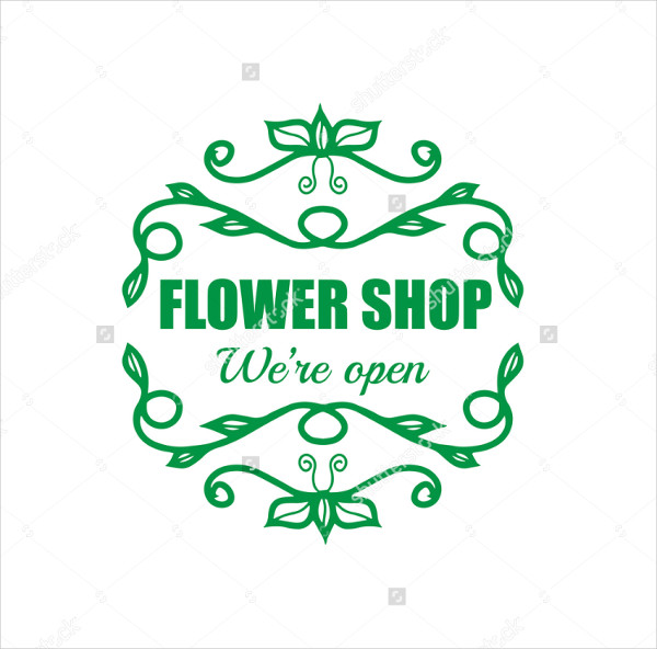 vintage flower shop logo