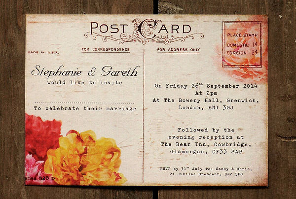 -Vintage Postcard Invitation