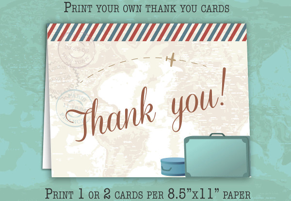 vintage travel thank you card