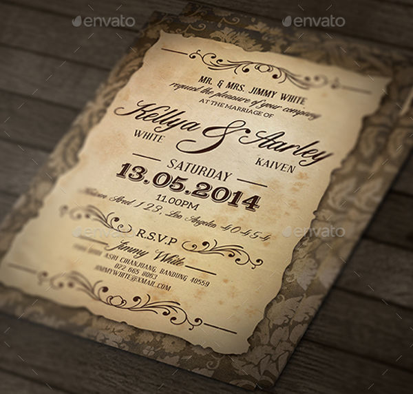 -Vintage Wedding Invitation