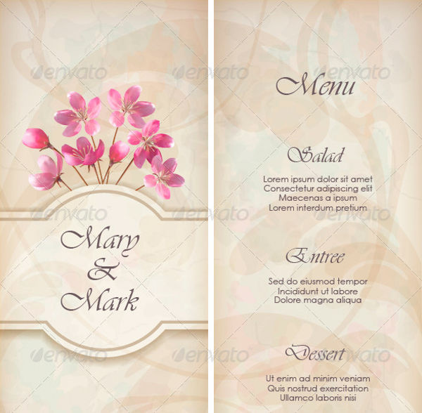 vintage wedding reception menu1