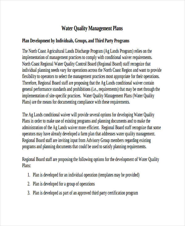Water Quality Management Plan