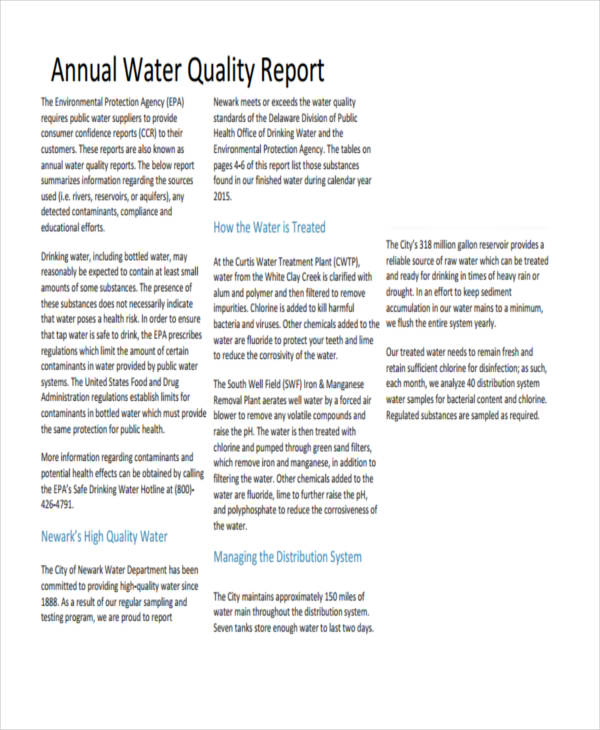water quality report sample