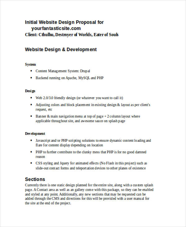 website design proposal