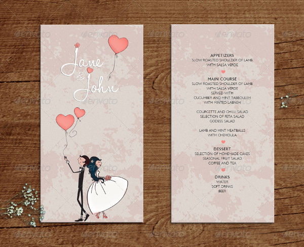 23  examples of wedding menus