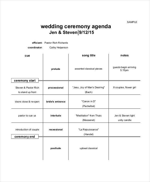 free 6  ceremony agenda examples  u0026 samples in pdf