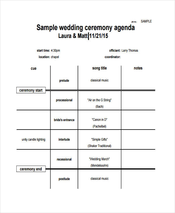 Wedding Agenda Samples Examples