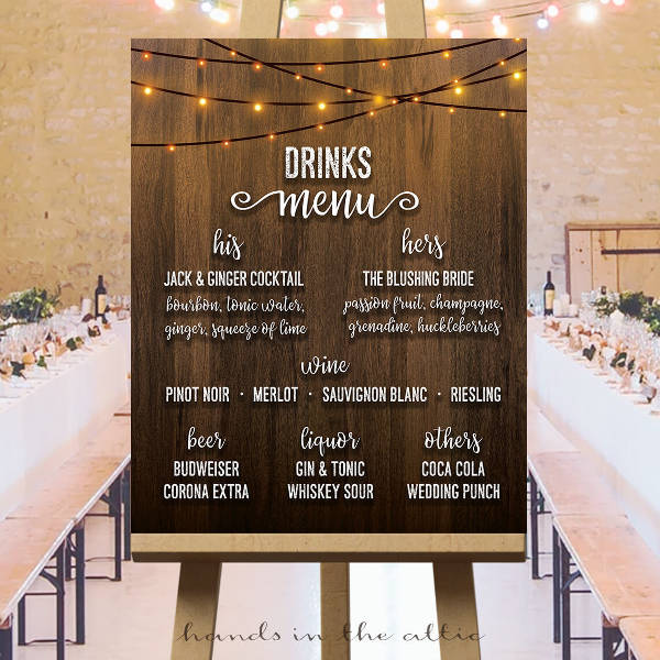 wedding cocktail reception menu