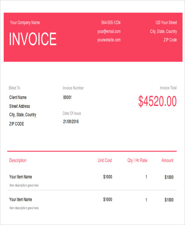 wedding photography invoice2