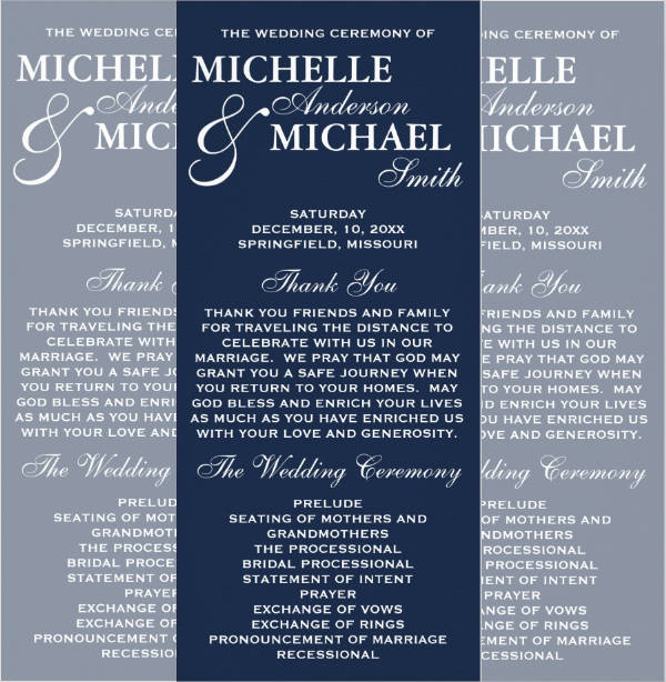 wedding program rack card
