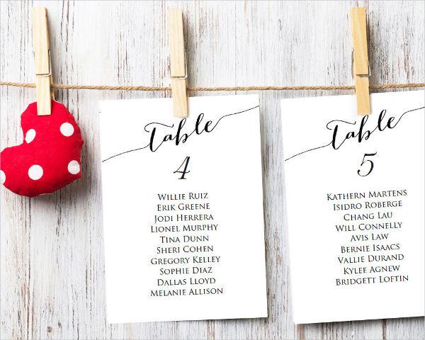 Wedding Table Name Card