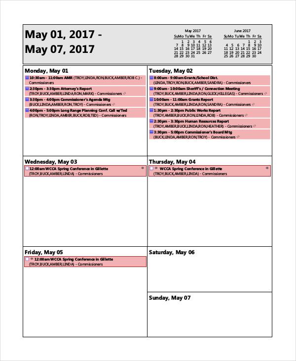 Free Agenda Examples